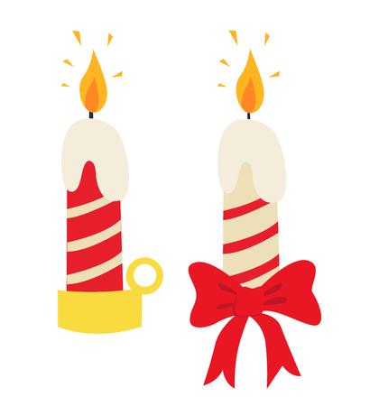 Christmas candle icon flat vector illustration isolated on white eps 10