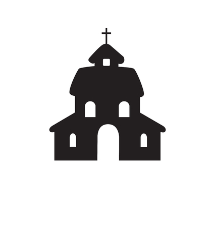 Church flat silhouette vector isolated on white eps 10 Çizim