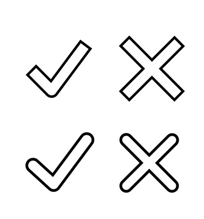 Mark line icons check and cross flat round buttons set Illustration
