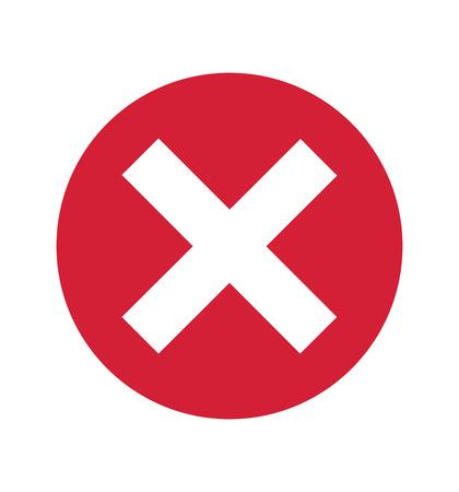 Kreuzzeichen rotes X-Symbol auf weißem Hintergrund Kreissymbol isoliert Vektorgrafik