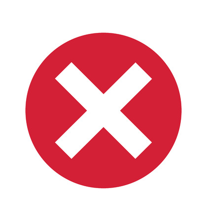 Cross sign red X icon isolated on white background circle symbol