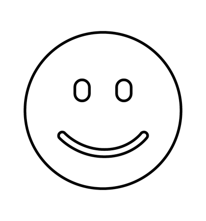 Smiley line vector happy face vector flat isolated on white