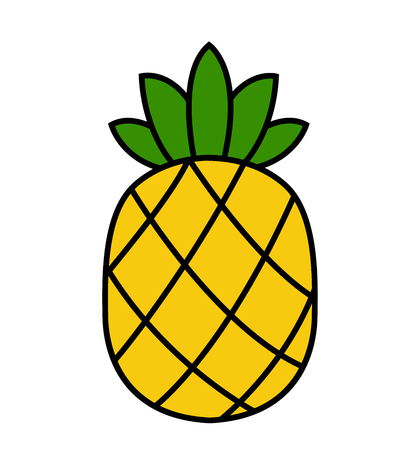 Pineapple icon tropical fruit vector yellow pineapple with green leaves isolated on white