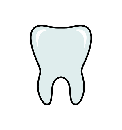 Tooth line flat icon dental vector illustration isolated on white
