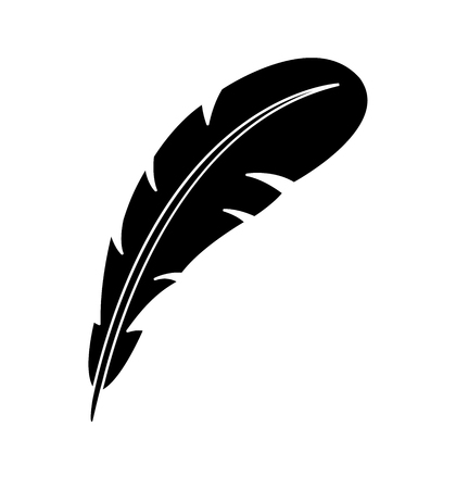 Vector feather icon silhouette isolated on white background illustration eps 10  イラスト・ベクター素材
