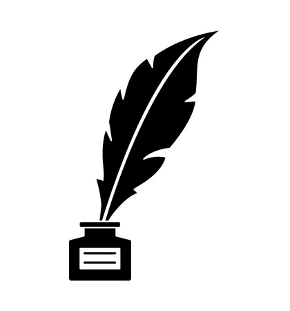 Old feather with ink isolated on white background vector illustration eps 10