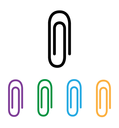 Paper clip icon flat isolated on white background for web,  app, UI vector illustration eps 10 Ilustração