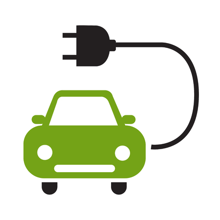 Electric car icon flat style isolated on white background eps 10