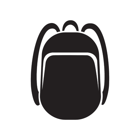 backpack icon monochrome silhouette. Knapsack. Schoolbag. Sack vector illustration. Black and white Ilustração