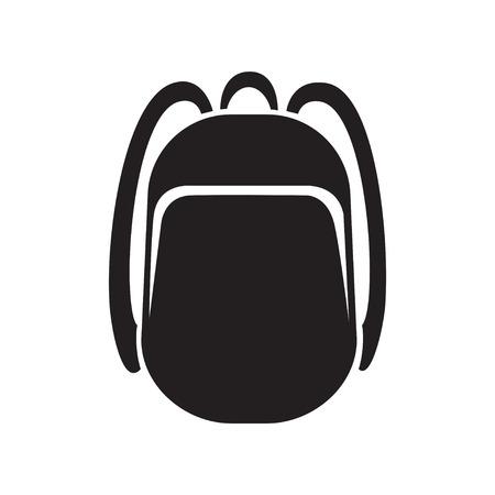 backpack icon monochrome silhouette. Knapsack. Schoolbag. Sack Ilustração