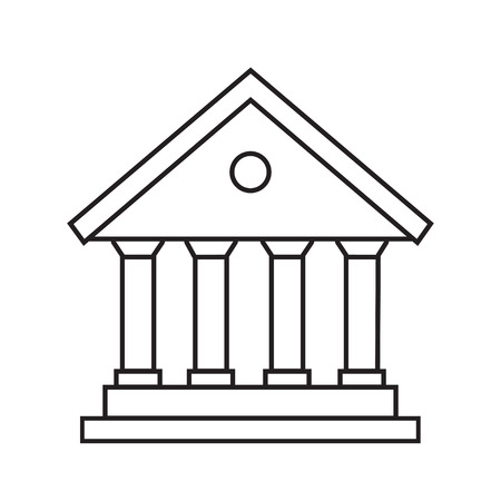 bank icon line courthouse, library, government vector illustration banking icon isolated on white eps  イラスト・ベクター素材