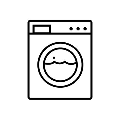 Washing machine line icon appliances symbol flat Çizim