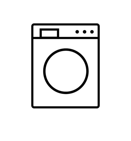 Washing machine line icon isolated on white Çizim