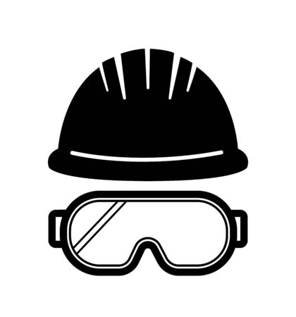 helmet glasses safety construction vector sign symbol Illusztráció