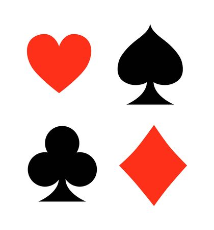 Four playing card signs on white background vector 일러스트