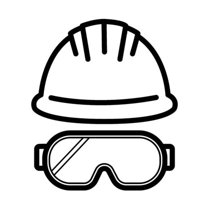 helmet glasses outline icon industrial security vector  イラスト・ベクター素材