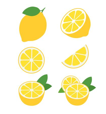 Fresh lemon fruits collection of vector illustrations isolated on white 일러스트