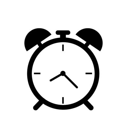 Black alarm clock icon isolated on white background time sign Illusztráció