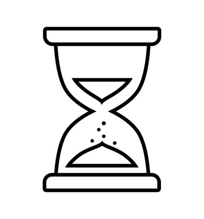 hourglass line icon flat vector object isolated