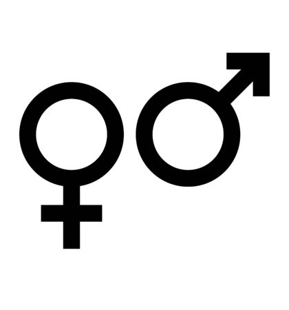 Vector de símbolo de icono de género aislado en blanco Ilustración de vector