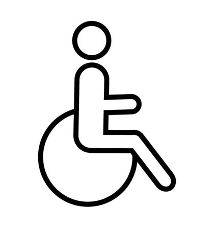 Disabled icon vector black pictogram illustration on white