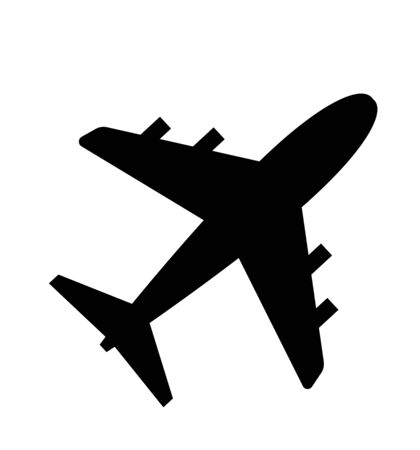 Icône d'avion de vecteur isolé sur blanc plat