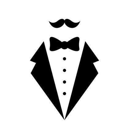 Mans jacket tuxedo weddind suit with bow tie vector illustration isolated Ilustración de vector