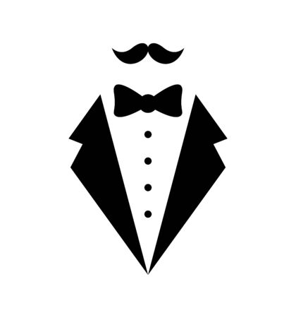 Mans jacket tuxedo weddind suit with bow tie vector illustration isolated Vetores