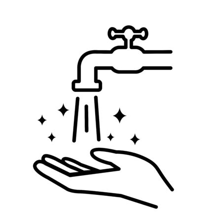 Hands under falling water out of tap washes hands, hygiene icon vector illustration in flat style