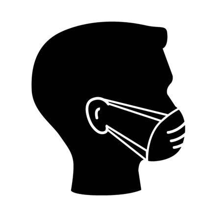 Breathing mask or medical mask on face flat vector icon for apps and websites Hygiene icons