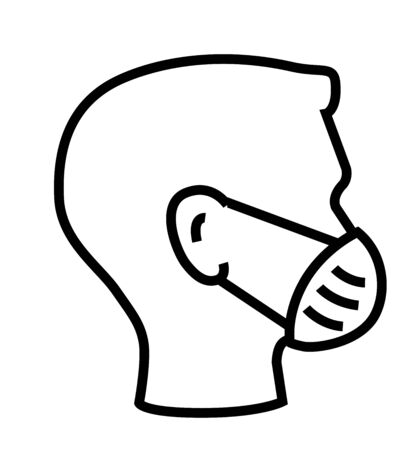 Breathing mask or medical mask on face flat vector icon for apps and websites