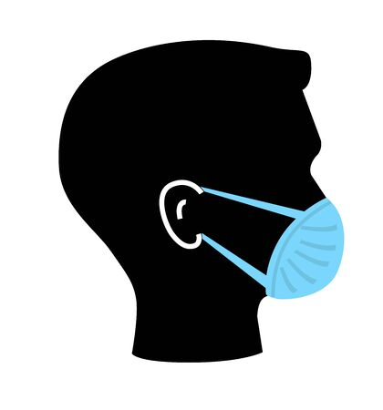 Breathing mask or medical mask on face flat vector icon 向量圖像