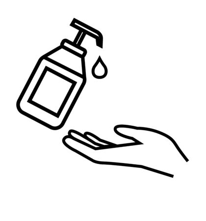Washing hand with sanitizer liquid soap vector line icon 向量圖像