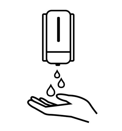 Washing hand with soap line icon antiseptic bottle, cleaning icon hygiene icons