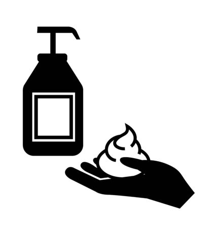 Wash hands with liquid soap vector icon filled flat sign for mobile concept and web design Hands antiseptic bottle glyph icon symbol, logo illustration 向量圖像