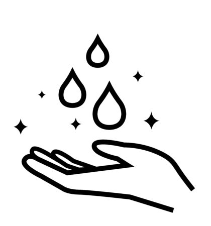 Drop in hand icon line hygiene symbol on white isolated background hygiene icons 向量圖像