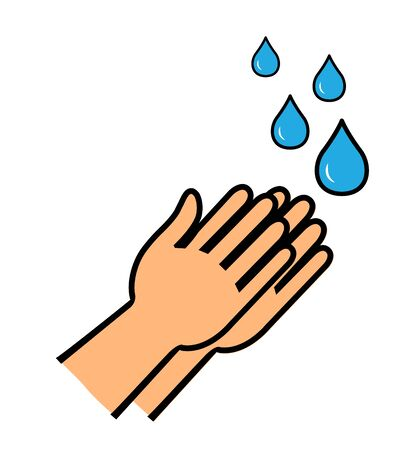 Hands under falling water man washes hands hygiene vector illustration in flat style