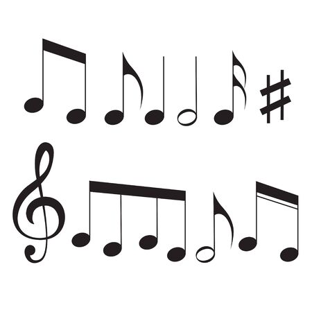 Music notes song melody or tune flat vector icon isolated for musical apps and websites 向量圖像
