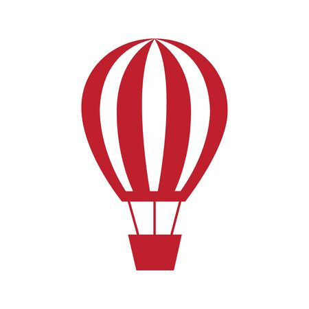 Hot air balloon icon red silhouette flat design style symbol vector illustration eps 向量圖像