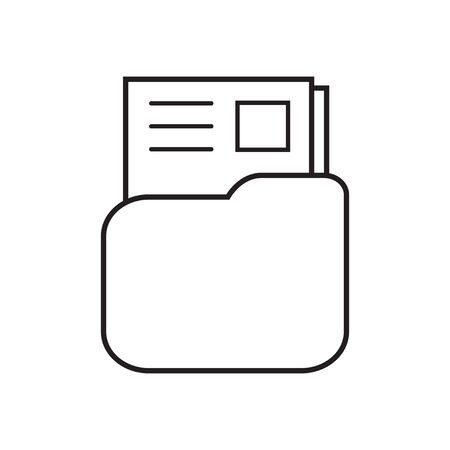 folder icon with stamp and text document line isolated on white vector illustration eps 10 向量圖像