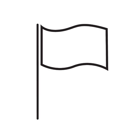 flag line icon sign vector isolated on white background Illustration