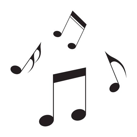 Music notes icon black isolated song melody or tune flat vector isolated for musical apps and websites