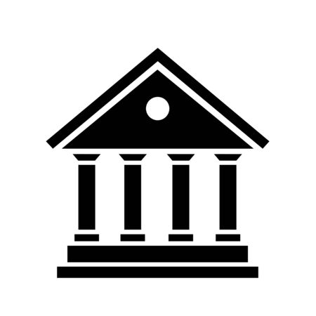bank icon black silhouette city hall, vector illustration banking icon
