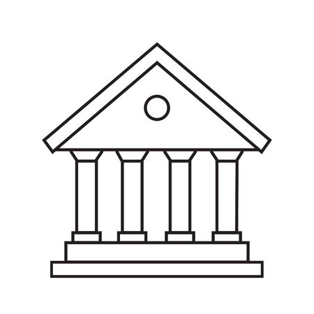 bank icon line courthouse, library, government city hall, vector illustration banking icon
