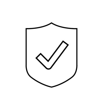 Shield line vector icon with check mark symbol, concept security sign protection, sign illustration isolated on white