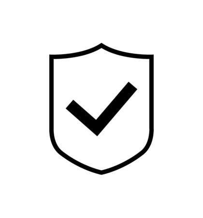 Shield vector icon with check mark symbol, concept security sign protection, sign illustration isolated on white 版權商用圖片 - 147494471