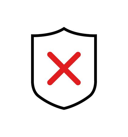 Shield vector icon with cross symbol, concept security sign protection, sign illustration isolated on white