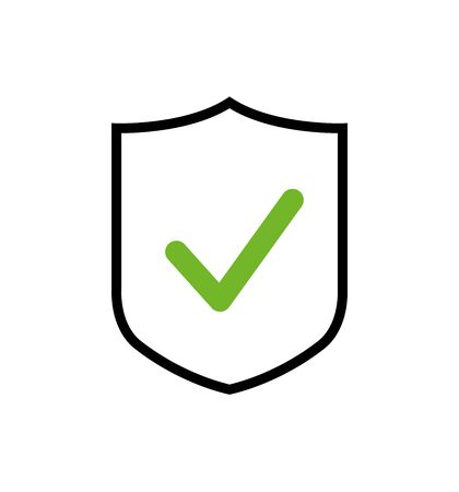 Shield vector icon with green check mark symbol, concept security sign protection, sign illustration isolated on white