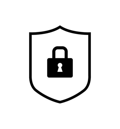 Security shield with lock icon line vector isolated on white