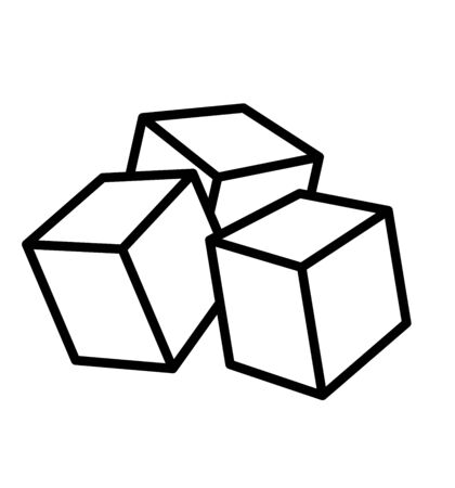 Sugar cubes or ice cubes line vector icon food apps and websites 向量圖像